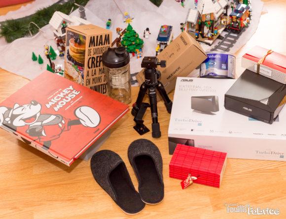 Mes cadeaux au pied du sapin : livre, graveur Blu-ray, cuisine, matériel photo, ...